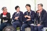 取材に応じる(左から)藤村忠寿、鈴井貴之、大泉洋、嬉野雅道=10月5日開催『水曜どうでしょう祭2019』2日目(C)HTB