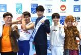 『サステナブル・シーフード・ウィーク2019』のオープニングイベントに出席した(左から)向清太朗、ひょっこりはん、田中直樹、誠子、渚 (C)ORICON NewS inc.