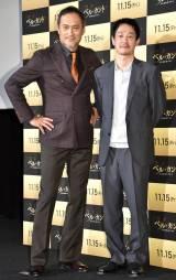 映画『ベル・カント とらわれのアリア』のプレミアム試写会舞台あいさつに登壇した(左から)渡辺謙、加瀬亮 (C)ORICON NewS inc.