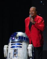 8月に開催された『D23 Expo 2019』で行われた『スター・ウォーズ/スカイウォーカーの夜明け』のプレゼンテーションに登壇したビリー・ディー・ウィリアムズ、R2-D2(C)2019 Getty Images