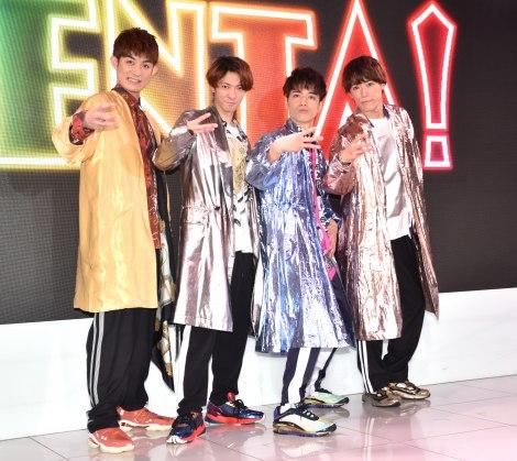 『ENTA!2 4U.Zeppin de SHOW』の製作発表会見に出席した(左から)松崎祐介、辰巳雄大、福田悠太、越岡裕貴 (C)ORICON NewS inc.