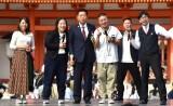 (左から)福本愛菜、ゆりやんレトリィバァ、衛藤晟一消費者相、チョコレートプラネット、おいでやす小田=京都国際映画祭『#えがおでつながるPRステージ』 (C)ORICON NewS inc.