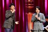 TBS 『有田哲平と高嶋ちさ子の人生イロイロ超会議』に登場した(左から)井上芳雄、中川晃教(C)TBS