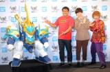 フィギュアの展示・販売イベント『TAMASHII NATION 2019』オープニングセレモニーに登場した(左から)カンニング竹山、誠子、渚 (C)ORICON NewS inc.