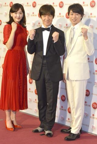 『第70回NHK紅白歌合戦』の司会者取材会に出席した(左から)綾瀬はるか、内村光良、櫻井翔 (C)ORICON NewS inc.