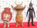 『第32回東京国際映画祭』レッドカーペットに登場した(左から)ガラモン、カネゴン、ケムール人 (C)ORICON NewS inc.