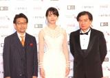 『第32回東京国際映画祭』レッドカーペットに出席した(左から)真木太郎、のん、片渕須直監督 (C)ORICON NewS inc.