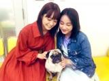 深川麻衣&パグ犬・タツオ&平祐奈の3ショット(写真は公式ブログより)
