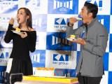 「いい刃の日」貝印創業111周年イベントに出席した(左から)内田理央、伊勢谷友介 (C)ORICON NewS inc.