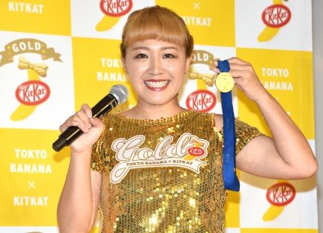 W杯金メダルは車で保管していると明かした丸山桂里奈=『東京ばな奈 キットカット ゴールド』のPRイベント (C)ORICON NewS inc.