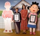 (左から)加藤みどり、天海祐希、サザエさん=CXアニメ50周年記念「サザエさんウィーク」発表会 (C)ORICON NewS inc.