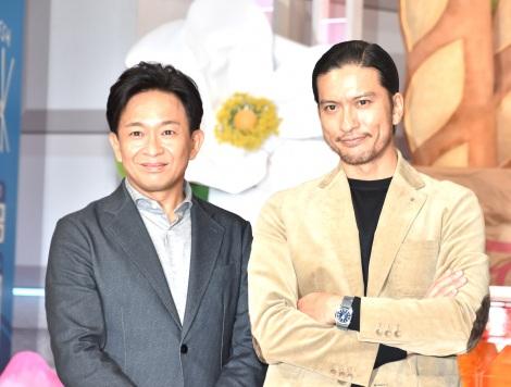 NHKスペシャルの大型シリーズ『食の起源』の取材会に出席したTOKIOの城島茂(左)と長瀬智也 (C)ORICON NewS inc.