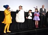 『映画 ひつじのショーン UFOフィーバー!』プレミアム試写会舞台あいさつに登壇した(左から)オカリナ、ゆいP、市川右近、Hinata、ウィル・ベチャー監督 (C)ORICON NewS inc.