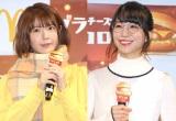 『グラコロ CMアニメ化試写会&商品発表会』に出席した(左から)竹達彩奈、愛美 (C)ORICON NewS inc.