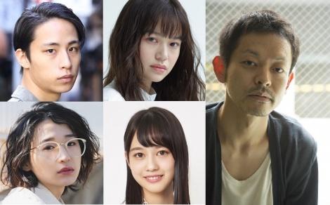 真夜中ドラマ『ハイポジ 1986年、二度目の青春。』(1月11日スタート)新たに発表された出演者(上段左から)伊島空、野崎智子(下段左から)めがね、岡田佑里乃、右は山中崇