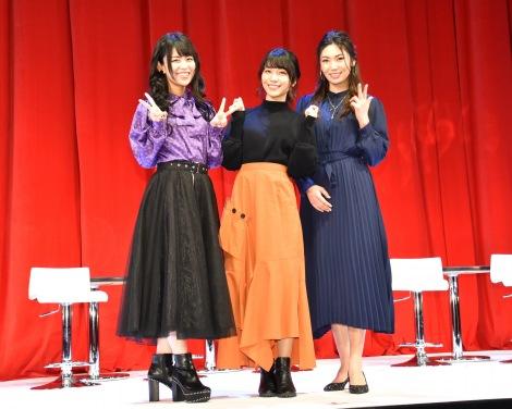 アニメ『BanG Dream! 3rd Season』制作発表会に出席した(左から)相羽あいな、愛美、Raychell (C)ORICON NewS inc.