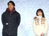 『JR SKISKI キャンペーン』記者発表会に出席した(左から)岡田健史、浜辺美波 (C)ORICON NewS inc.