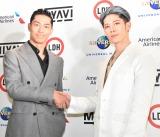 『LDH JAPAN』移籍発表囲み取材に出席した(左から)EXILE AKIRA、MIYAVI (C)ORICON NewS inc.