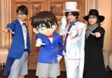 アルバム『BREAKERZ×名探偵コナン COLLABORATION BEST』発売記念イベントに出席した(左から)SHINPEI、コナン君、DAIGO、AKIHIDE (C)ORICON NewS inc.