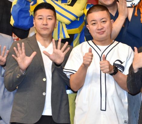 TT兄弟は「10分で考えたネタ」と明かしたチョコレートプラネット(左から)長田庄平、松尾駿=『2020 ルミネtheよしもと 新春キャンペーン』発表会 (C)ORICON NewS inc.