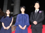 映画『ラストレター』レッドカーペットイベントに登場した(左から)広瀬すず、松たか子、福山雅治 (C)ORICON NewS inc.