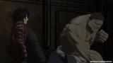 アニメ『ケンガンアシュラ』episode01 「拳願」。自身の何倍もの大きさのある巨漢をいとも簡単に倒す十鬼蛇王馬(C)2019 サンドロビッチ・ヤバ子,だろめおん,小学館/拳願会