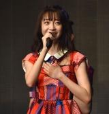 涙をこらえながらあいさつする荻野由佳=『NGT48選抜メンバーコンサート〜TDC選抜、合宿にて決定。初めての経験〜』
