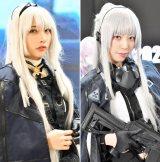 『コミケ97』に見つけた、人気グラドル・水沢柚乃さん(左)と、アサルトライフルを手にした兎乃結衣さん(右) (C)oricon ME inc.