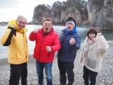 1月26日放送、『サンドのこれが東北魂だ 45号線を北上せよ! 三陸海岸 夢と希望の最前線』(左から)あばれる君、伊達みきお、富澤たけし、生駒里奈(C)TBC
