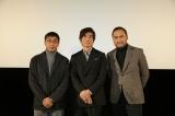 郡山市での舞台あいさつに登壇した(左から)若松節朗監督、佐藤浩市、渡辺謙 (C)2020『Fukushima 50』製作委員会