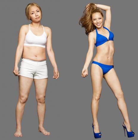 サムネイル 体重6.5キロ減で大変身したMAX LINAのビフォー(左)、アフター(右)