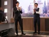 フジテレビ4月期の月9ドラマ『SUITS/スーツ2』よりクランクインを迎えた(左から)中島裕翔、織田裕二 (C)フジテレビ