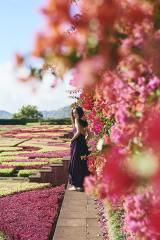 一面に広がる花畑を背景に、バーガンディレッドのワントーンのワンピースを纏い微笑む泉里香=写真集『Madeira』先行イメージカット(C)SDP
