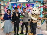 (左から)川添佳穂アナ、洲崎、岩本計介アナ、おき太くん(C)ABC