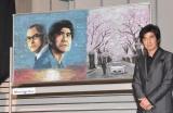 会津学鳳高校美術部員が製作した黒板アート=映画『Fukushima 50』黒板アートお披露目イベント