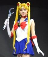 セーラームーンの衣装で登場したメドベージェワ=『美少女戦士セーラームーン』プレス発表会 (C)ORICON NewS inc.