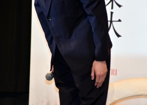 左手薬指に指輪はなし=映画『三島由紀夫vs東大全共闘 50年目の真実』の直前トークイベントに参加した東出昌大 (C)ORICON NewS inc.