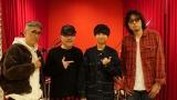 「Flow」レコーディング時写真(左から)小田原豊、根岸孝旨、Maica_n、齋藤和義