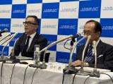 会見に臨む世古和博氏(写真左/JASRAC常務理事)、田中豊(写真右/弁護士)