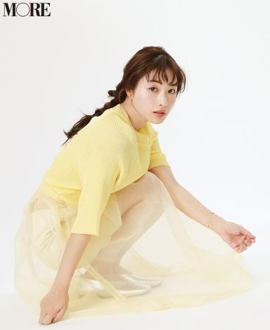 サムネイル 『MORE』5月号に登場する石原さとみ 撮影/野田若葉