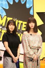 KDDI『UNLIMITED WORLD au 5G』発表会に登場した(左から)有村架純、池田エライザ