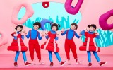 0〜2歳の赤ちゃん向け番組『シナぷしゅ』4月6日のレギュラー放送スタート。オープニング「はじまりぷしゅ」ダンスをする5人のメンバー(C)テレビ東京