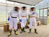 ミツバチを採りに行く3人(C)BS朝日