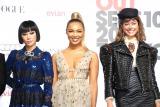 『VOGUE FASHION'S NIGHT OUT』OPセレモニーに出席した(左から)?マドモアゼル・ユリア、Crystal Kay、森星 (C)ORICON NewS inc.