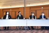 3者連合文化芸術復興基金創設に関する記者会見に出席した(左から)スガナミユウ、加藤梅造、諏訪敦彦、北條誠人 (C)ORICON NewS inc.