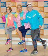 NHK BS1の情報番組『ラン×スマ〜街の風になれ〜』に出演する(左から)SHELLY、ロンドンブーツ1号2号・田村亮、金哲彦 (C)ORICON DD inc.