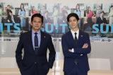 フジテレビ月9ドラマ『SUITS/スーツ』取材会に出席した(左から)織田裕二、中島裕翔 (C)フジテレビ