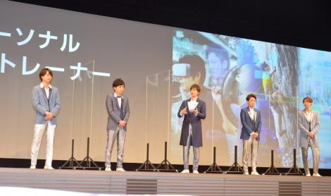 ソフトバンクとの『5Gプロジェクト』に関する発表会に登壇した嵐(左から)櫻井翔、二宮和也、松本潤、大野智、相葉雅紀 (C)ORICON NewS inc.