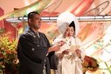 ABCテレビ・テレビ朝日系『新婚さんいらっしゃい!』でリモート結婚式を挙げたチェリー吉武・白鳥久美子(たんぽぽ)夫妻。夏の1時間スペシャル、8月23日放送 (C)ABCテレビ