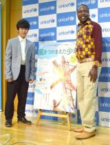 映画『風をつかまえた少年』のトークショーに出席した(左から)鈴木福、ウィリアム・カムクワンバ (C)ORICON NewS inc.